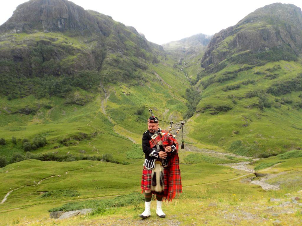 Solo Bagpiper at Glencoe, Scotland