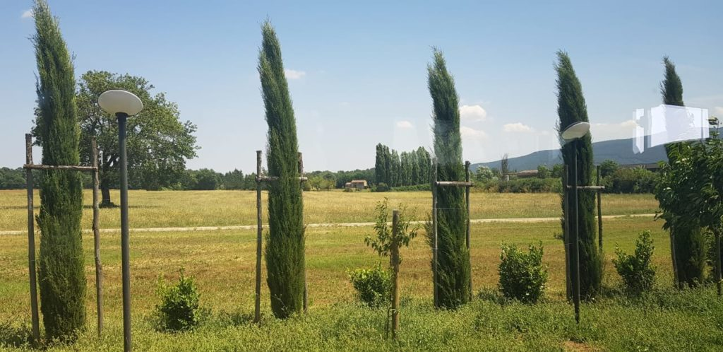 View of Tuscany from a moving bus