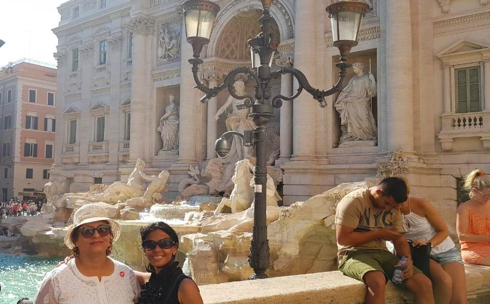 At Trevi Fountain with my friend