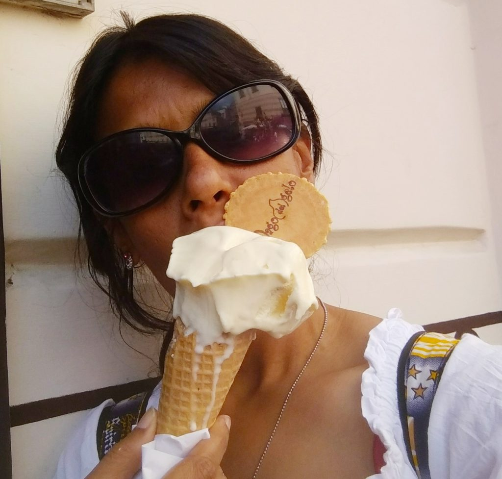 Enjoying my ice-cream